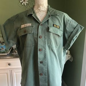Men's retro vintage Gap Button down green L